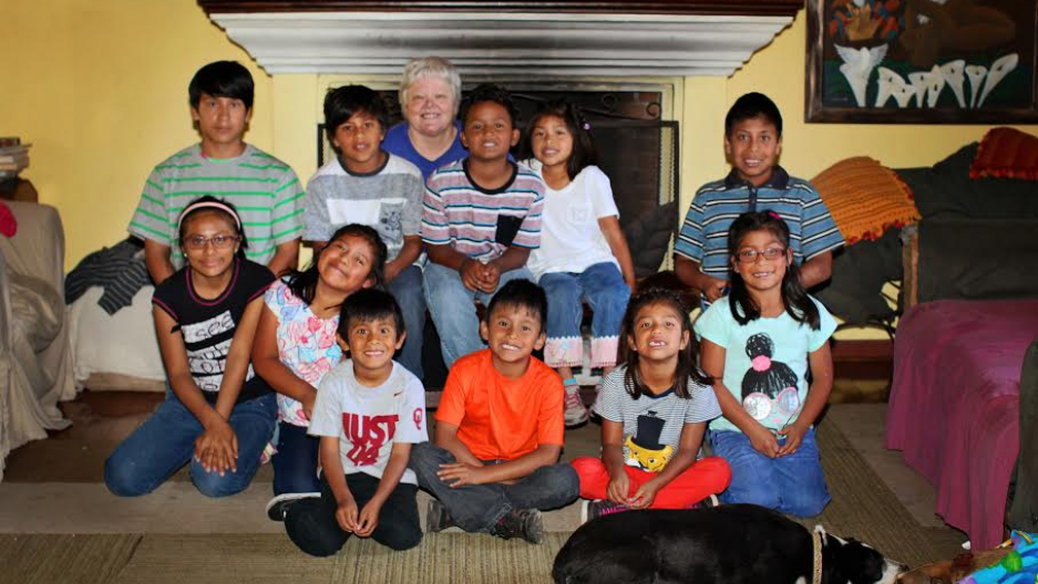 Photo of Nancy Bailey with children from her school