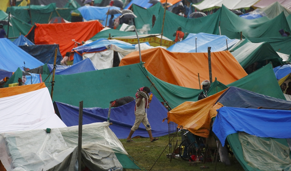 Makeshift shelters in Nepal