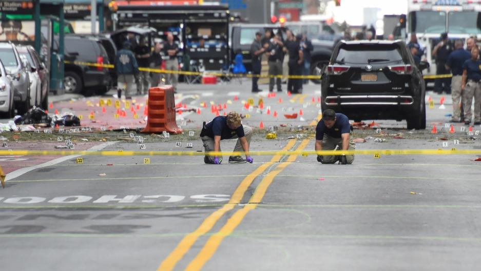 FBI officials mark the ground
