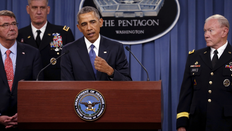 US President Barack Obama at the Pentagon