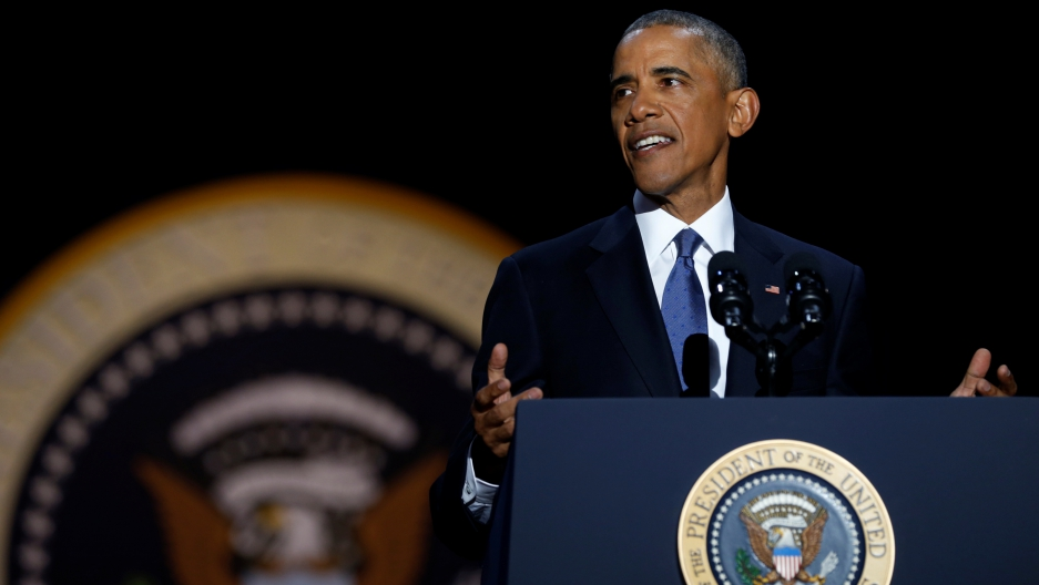 US President Barack Obama delivers his farewell address in Chicago, Illinois, January 10, 2017.