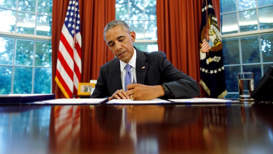 Obama at desk