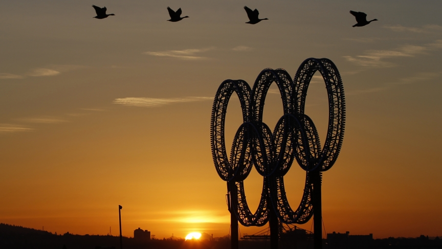 Geese fly past Vancouver's Olympic Rings