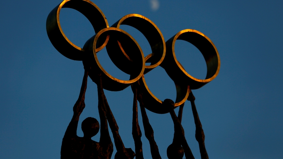 A statue is pictured in front of the International Olympic Committee (IOC) headquarters
