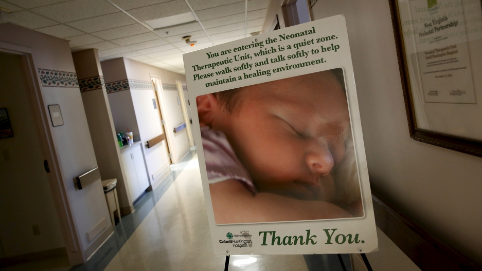 A sign marks the entrance to the Neonatal Therapeutic Unit at Cabell Huntington Hospital