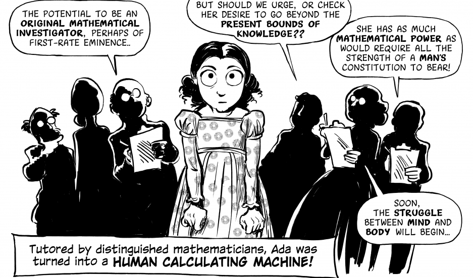 "A panel from ""The Thrilling Adventures of Lovelace and Babbage"" graphic novel."