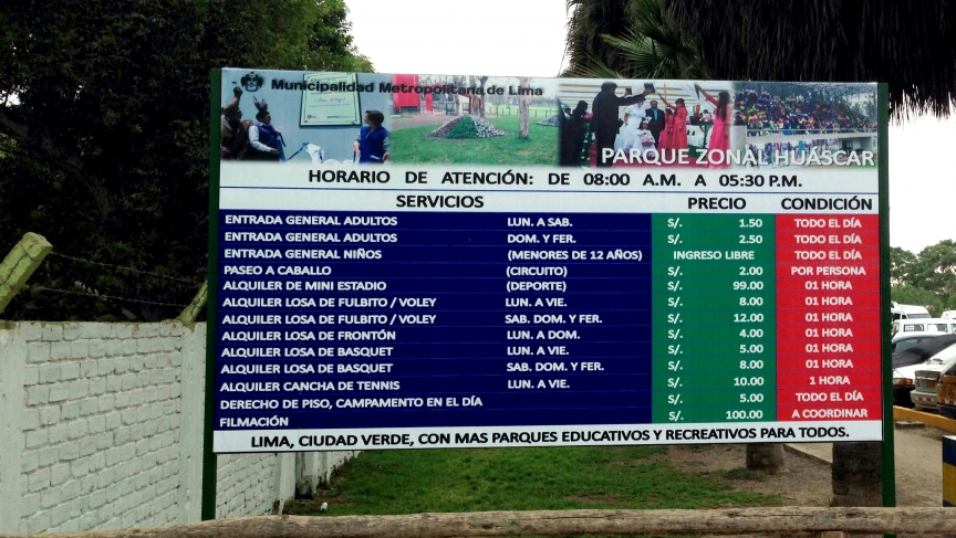 The Huscar Park in a working-class neighborhood of Lima is a public park, but you have to pay admission. It's extra for things like using the basketball courts and making a video.