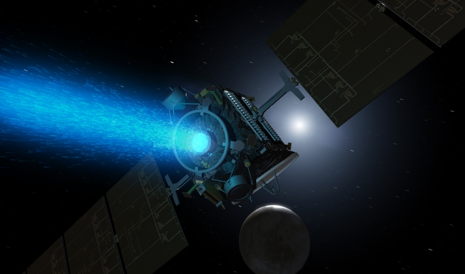 This artist's concept shows NASA's Dawn spacecraft arriving at the dwarf planet Ceres