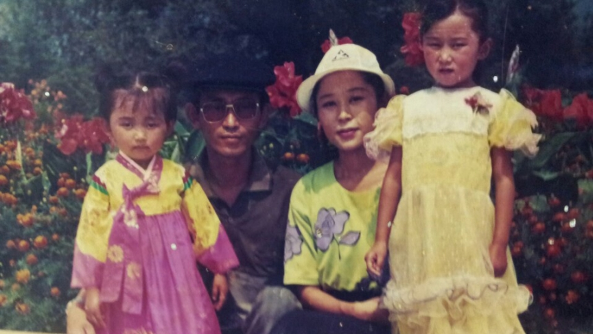 Yeonmi Park with her family in North Korea