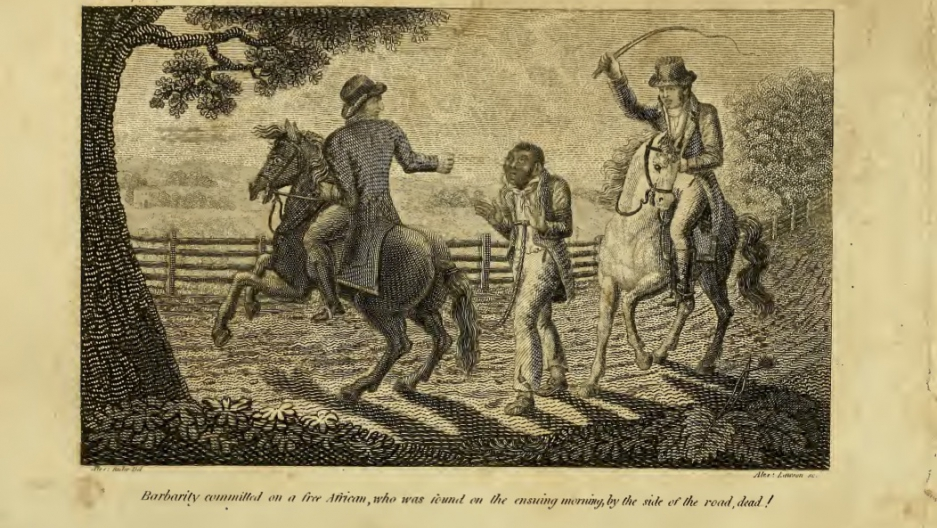 A 19th century engraving reprinted in a book depicts an African American man in shackles and detained by two white men on horseback, one of whom is holding a whip in the air, as if he is about to strike.
