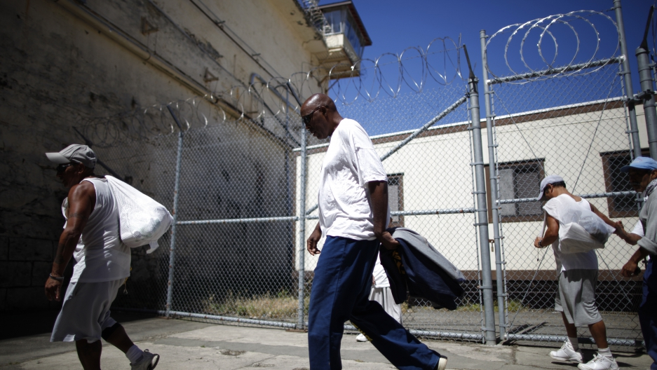 Inmates leave the exercise yard at San Quentin state prison in San Quentin, California.