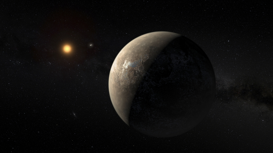 The planet Proxima b orbiting the red dwarf star Proxima Centauri