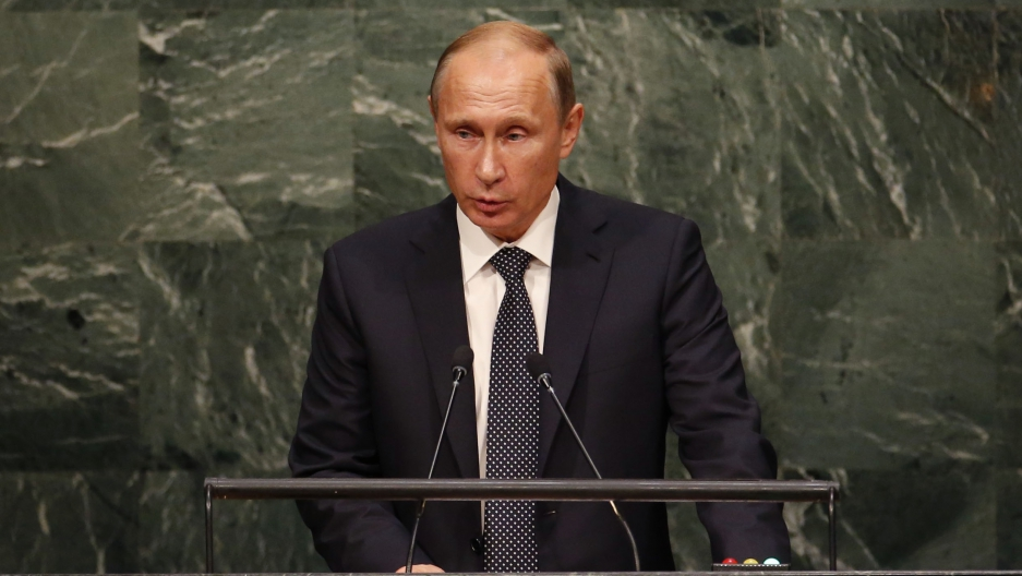 Russian President Vladimir Putin addresses attendees during the 70th session of the United Nations General Assembly at the UN Headquarters in New York, September 28, 2015.