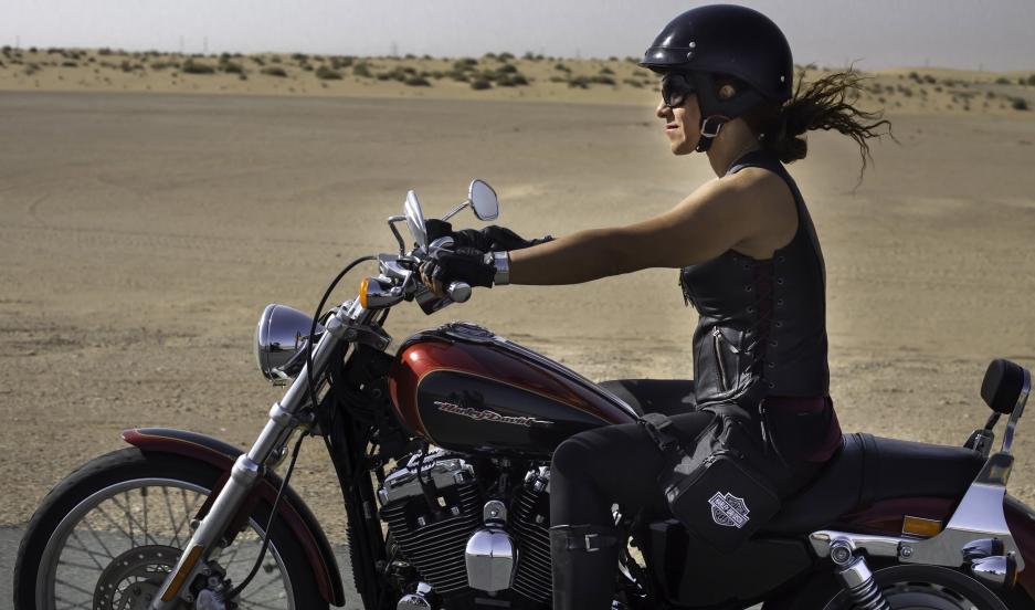 A female rider on International Female Ride Day in Dubai.