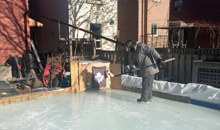 Kevin Sylvester's backyard ice rink in Toronto, Ontario.