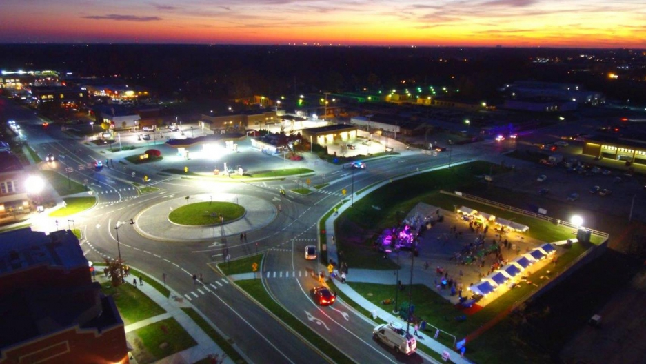 A night shot taken of the 100th roundabout in Carmel, Indiana.