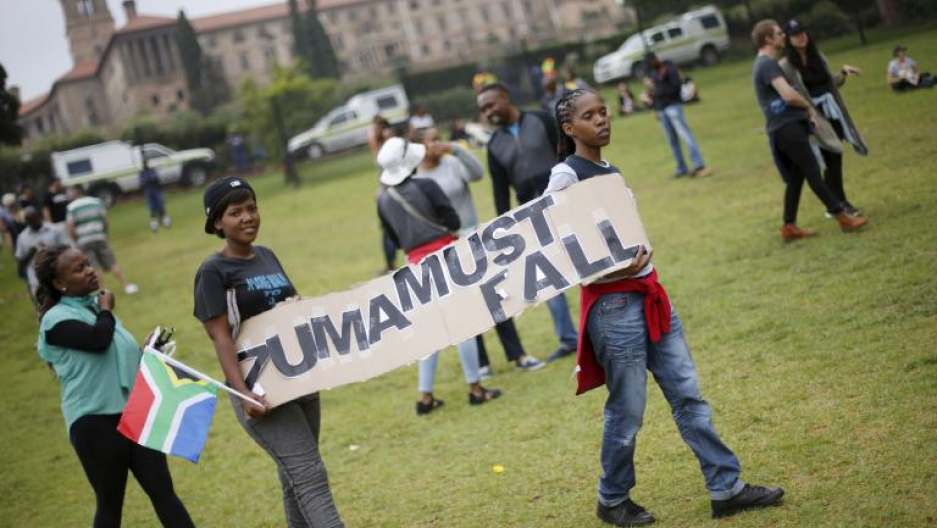 Protesters carry placards as they take part in a 'Zuma must fall' demonstration in Pretoria, South Africa December 16, 2015.