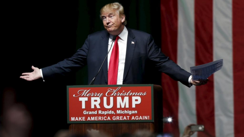Republican presidential candidate Donald Trump addresses the crowd during a campaign rally in Grand Rapids, Michigan on Dec. 21, 2015.