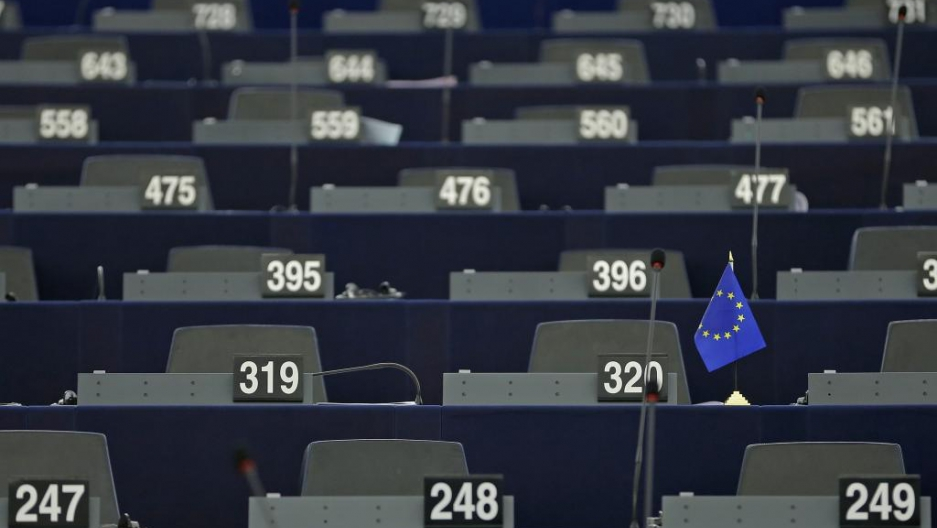 Empty desks in European Parliament on Jan. 20, 2016.