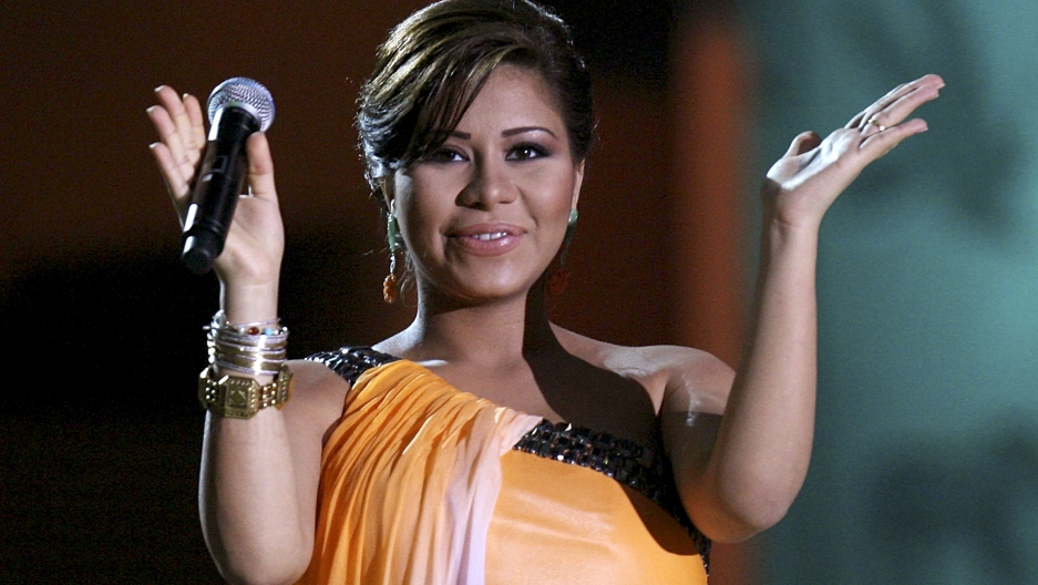 Egyptian pop star Sherine performs during the opening ceremony of Doha's 9th Music Festival in Qatar.