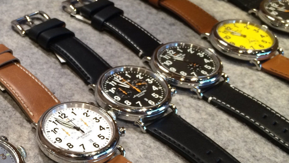 Shinola's watches on sale in its Ann Arbor, Michigan store. The company now has more than a dozen US locations and one overseas store in London.
