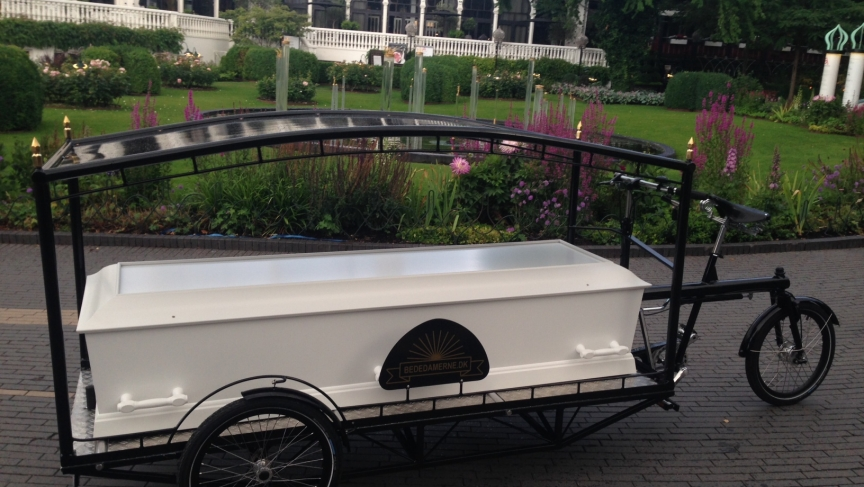 Sille Kongstad's bicycle-powered hearse is unveiled at Tivoli Gardens amusement park in Copenhagen