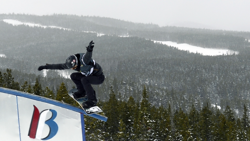 Shaun White competes during slopestyle qualifying for the US Grand Prix at Breckenridge Ski Resort in Colorado.