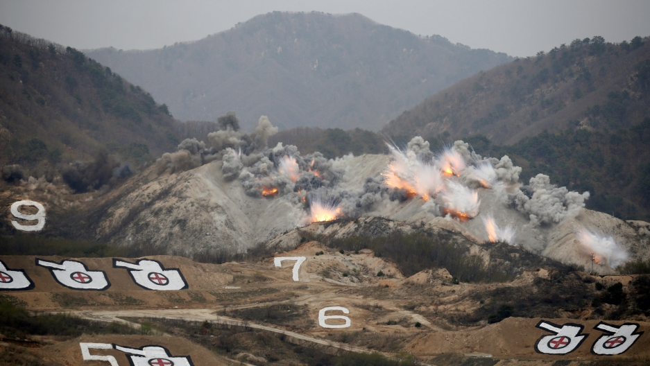 Explosions are seen at a target, during a US-South Korea joint live-fire military exercise