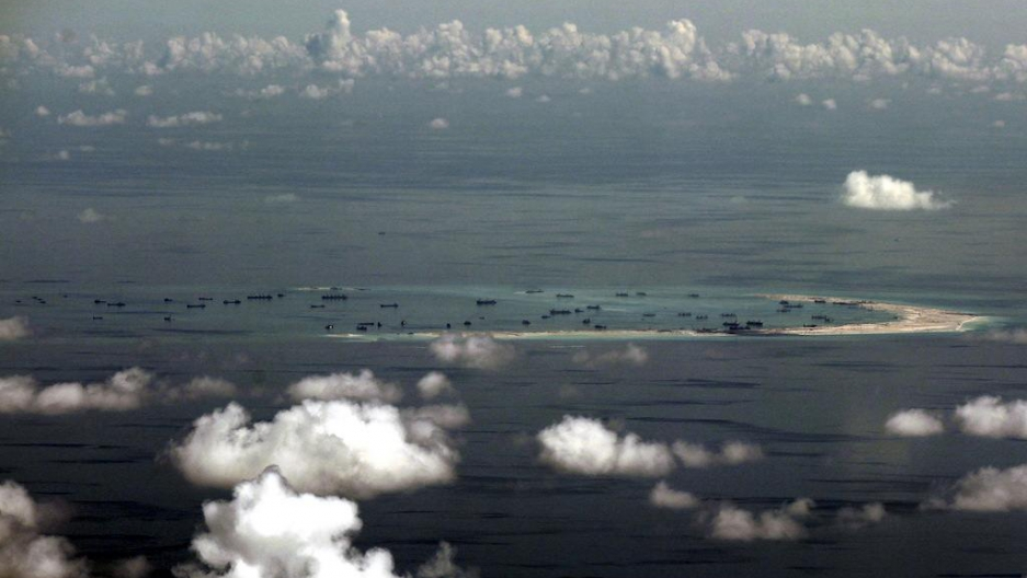 An aerial photo shows alleged land reclamation by China on Mischief Reef in the Spratly Islands, May 2015. China has reportedly deployed missiles on another disputed South China Sea territory, Woody Island in the Paracel chain.