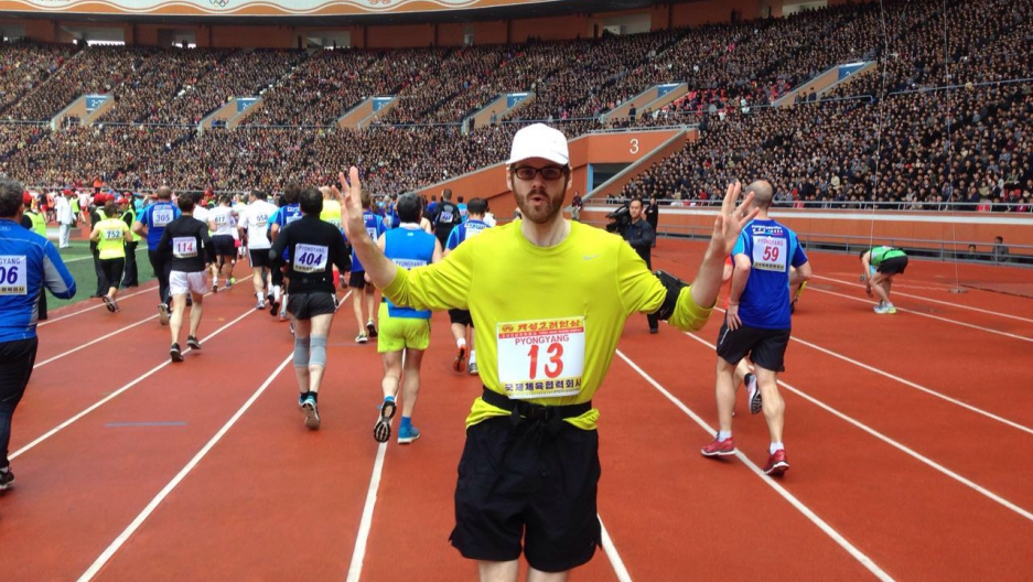 Alec Ash starts the Pyongyang Marathon. April 10, 2016.