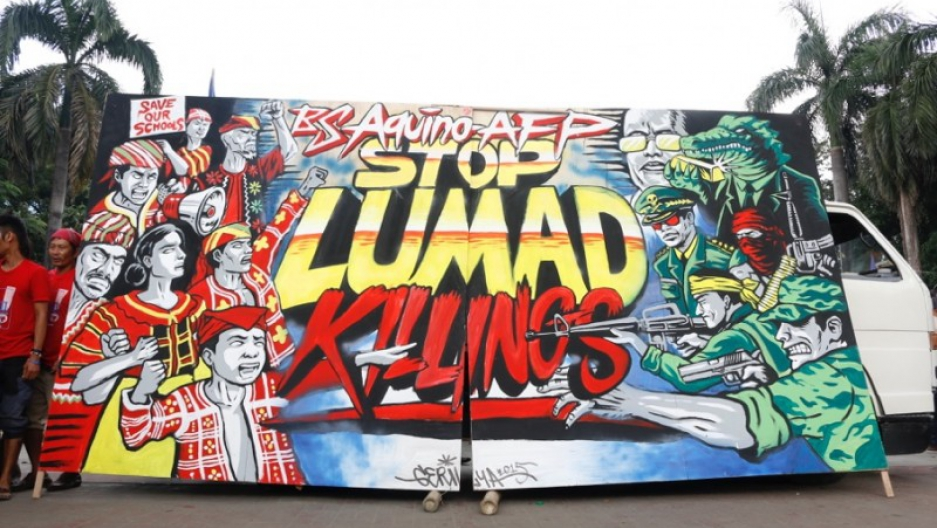 A wall was transformed into a mural echoing the call of human rights groups to stop the militarization of Lumad schools.