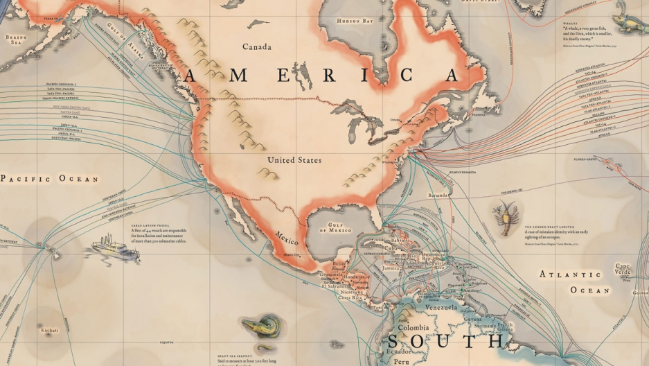 """A portion of """"A new map of the submarine cables connecting the world in 2015."""" Reprinted with permission of TeleGeography (TeleGeography and www.telegeography.com)"""