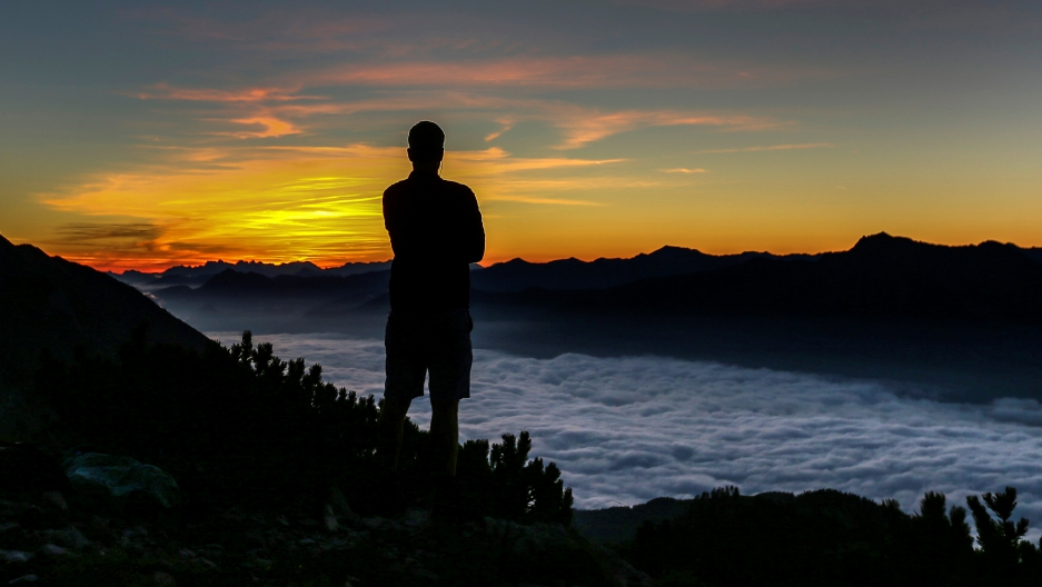 Man and the sunrise