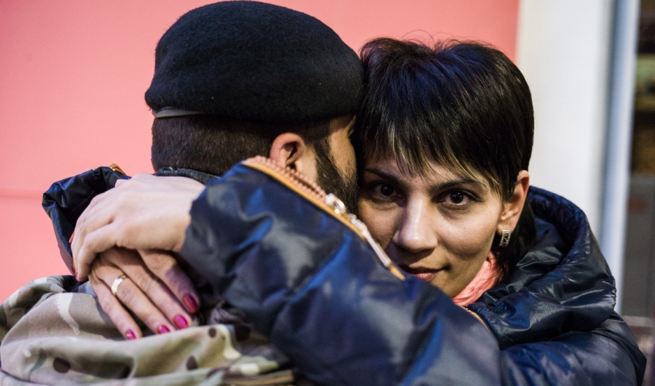 Elmaz and her husband, Timur Barotov, refugees from Crimea who now live in Lviv, Ukraine