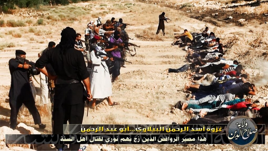 A still shot from one of the videos posted by ISIS purporting to show the killing of captured Iraq government personnel.