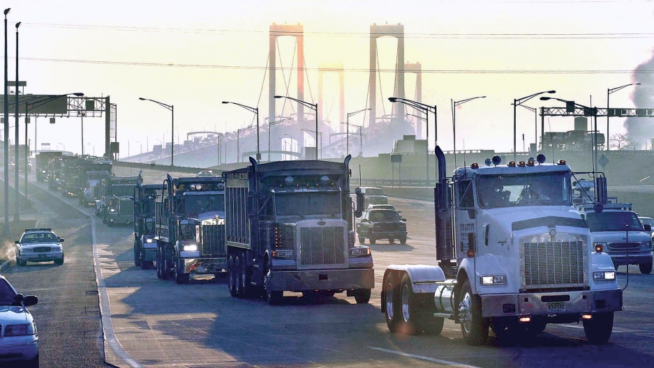 A convoy of trucks headed to Washington, D.C. for a protest.