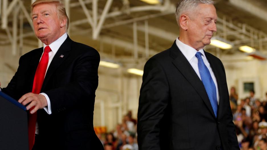US President Donald Trump is introduced by Defense Secretary James Mattis