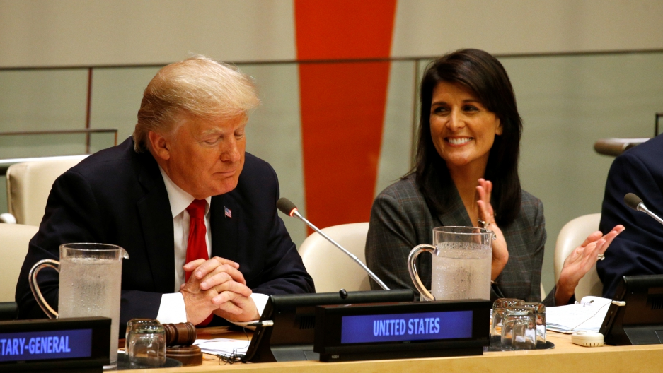 US Ambassador the the U.N. Nikki Haley applauds as President Donald Trump speaks during a session on reforming the United Nations at in New York, Sept. 18, 2017.