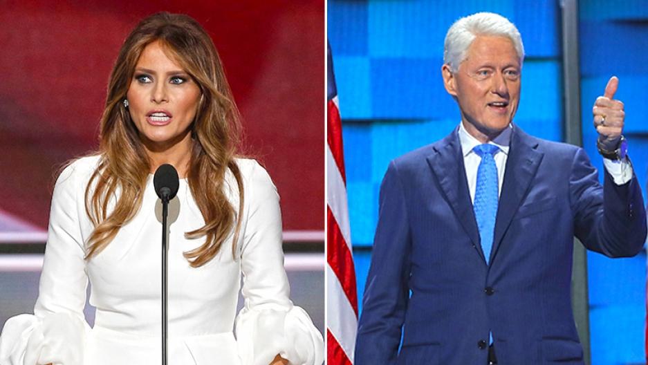Melania Trump and Bill Clinton
