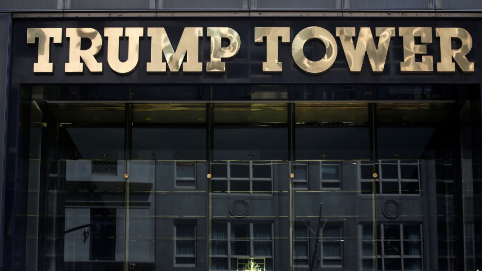 The Trump Tower logo is pictured in New York, May 23, 2016.