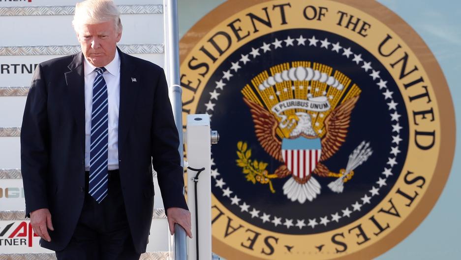 President Donald Trump arrives at the Leonardo da Vinci-Fiumicino Airport in Rome, Italy, May 23, 2017.