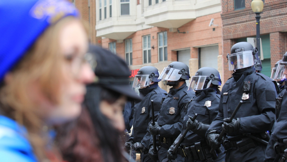 Protestors clash with police on inauguration day.