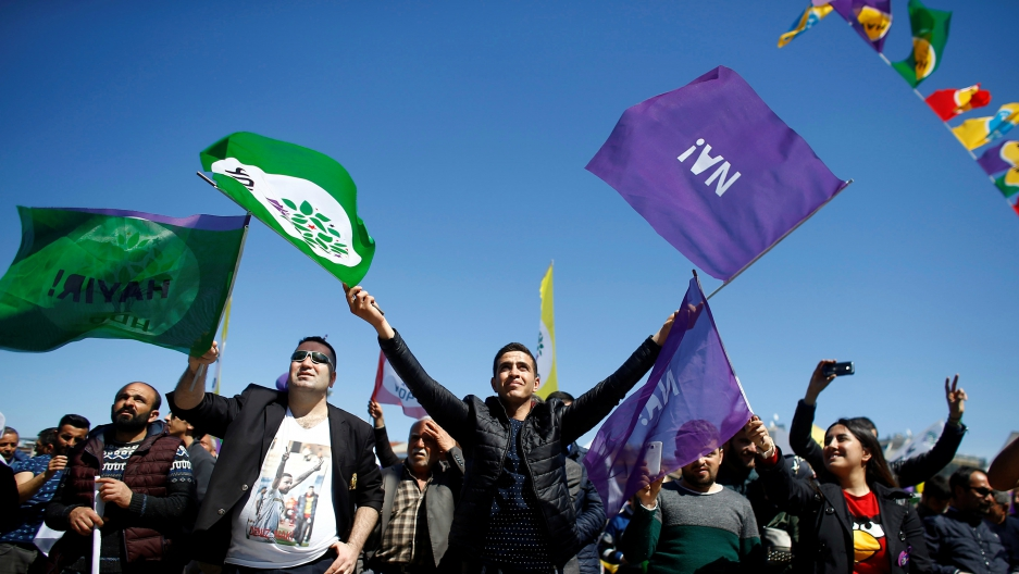"Pro-Kurdish opposition Peoples' Democratic Party (HDP) and ""Hayir"" (""No"") supporters attend a campaign for the upcoming referendum in Istanbul, Turkey, April 13, 2017."