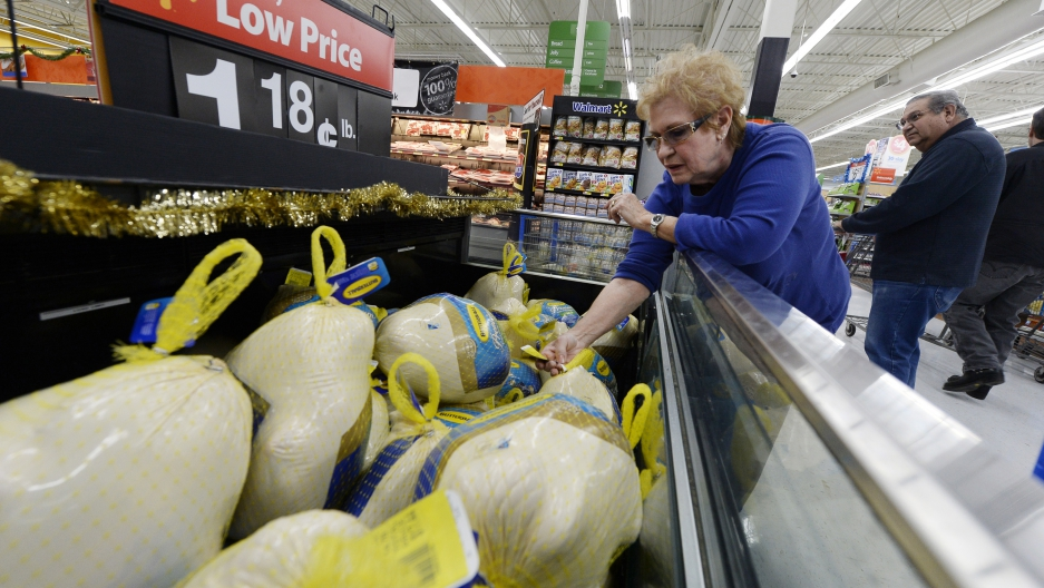 A customer shops for a turkey at a Walmart store in Los Angeles, California