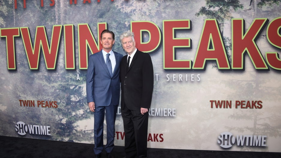 """Kyle MacLachlan, left, and David Lynch attend the premiere of """"Twin Peaks"""" in Los Angeles, May 19, 2017."""
