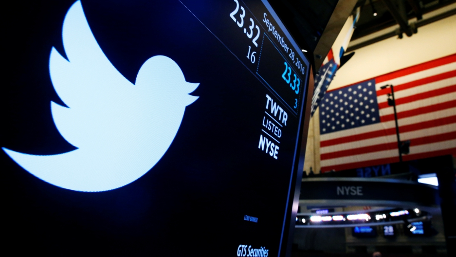 The Twitter logo is displayed on a screen on the floor of the New York Stock Exchange