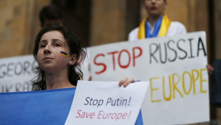 Protesters attend a rally in support of Ukraine, in Tbilisi, Georgia, on August 29, 2014.