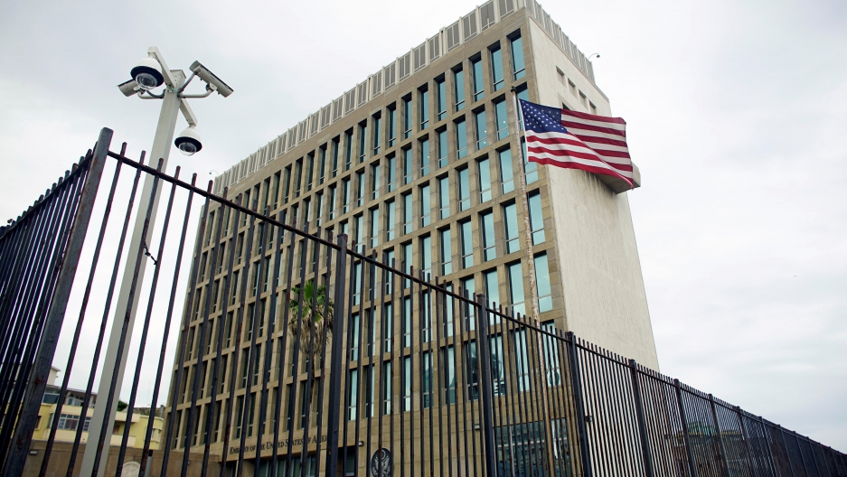 An exterior view of the US Embassy in Havana, Cuba
