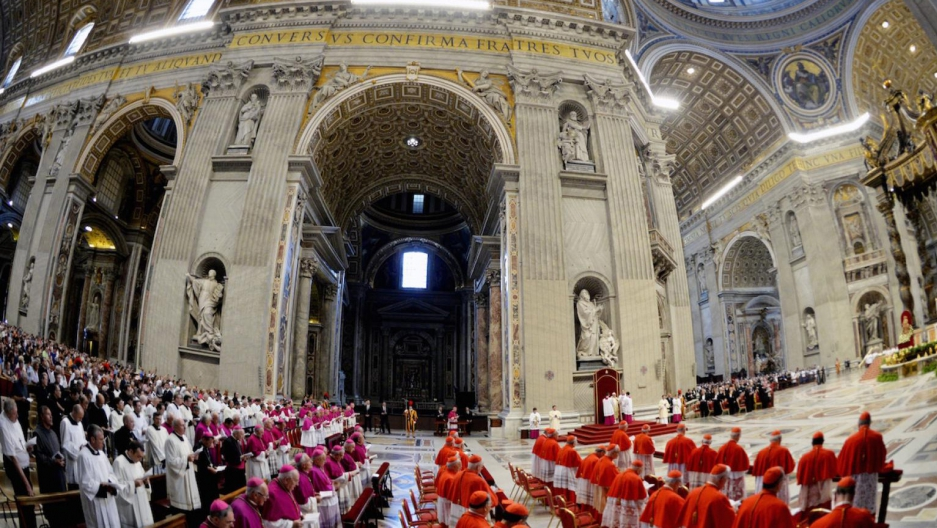 Pope Francis leads cardinals and bishops in prayer at St. Peter's Basilica, in Vatican City.