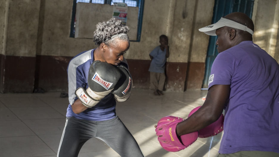 Veronica Mbithe trains at the Dallas Boxing Club in Muthurwa,  Nairobi